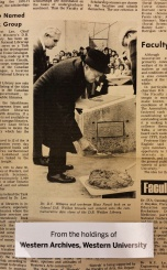 """Dr. D.C. Williams and workman Hans Noack look on as Colonel D.B. Weldon trowels wet cement onto the commemorative date stone of the D.B. Weldon Library."" (Source: Western News, Vol. 8, No. 22, December 7, 1972.)"